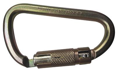 Mosqueton En D Carabiner En Acero (Triple Seguro) 45 kN